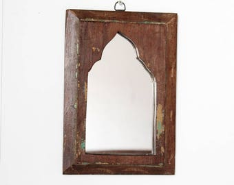 Moroccan Mirror Vintage Wood Frame Reclaimed Wall Art Distressed Brown and Green Wall Mirror