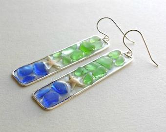 Blue Green Sea Glass Earrings, Cobalt Blue Sea Glass, Starfish Dangle Earrings, Hawaiian Beach Glass Earrings, Resin Dangle Earrings