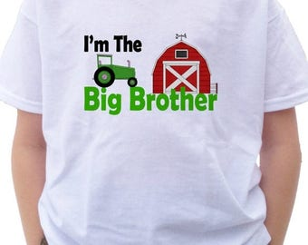 FLASH SALE Farm Tractor Big Brother Shirt -  I'm the Big Brother Farm Tractor T-shirt red barn farming crops announcement tractor shirt farm