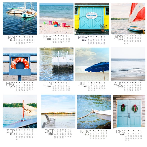 Cindy Taylor 2018 Calendar,Looseleaf Calendar, 12 Coastal Images, Beach Photos, 5x5 inch Photos, Stocking Stuffers, Gift Calendar, Christmas