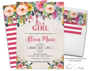 Girls Floral Baby Shower Invitation - Baby Girl Shower Invitation - Girls Baby Shower Invite - Baby Girl Invite - Floral Baby Shower