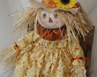 Primitive Scarecrow cloth art doll 22 inch Fall Harvest Scarecrow folk art doll handmade scarecrow girl doll by Morning Mist Designs