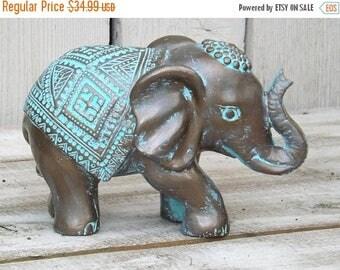 ON SALE Elephant Decor~Patina ~Decorative Elephant Figurine~Elephant Sculpture~Bronze~Bohemian