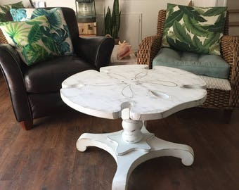Sand Dollar Side ONE Table Night Table Shabby Chic Beach House Style Decor by CastawaysHall - Ready to Ship