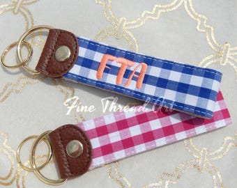 Gingham Check Key Chain Fob Pink Blue Travel Teacher Gift Bride with Embroidered Monogram Personalized Mrs. Keychain College Graduation