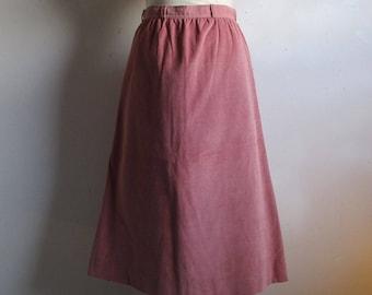 Rose Pink Corduroy 80s Skirt Vintage Ports International 1980s Cotton Pinwhale A-Line Skirt 10
