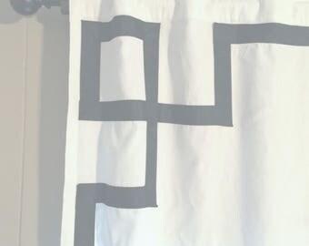 Greek Key Corner Motif Curtain with Black Grosgrain Ribbon in corners - 50% SALE ---