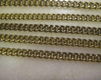 Brass Twist Curb Chain: General Purpose Jewelry Chain, True Vintage 1970 Unused Old Stock, American Made, 12 Pieces, 8 Inches Each Piece