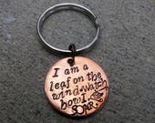 Leaf on the wind - Handstamped Copper Keychain