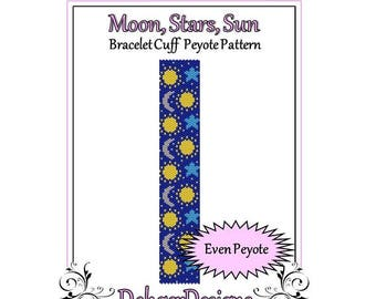 Bead Pattern Peyote(Bracelet Cuff)-Moon, Stars, Sun
