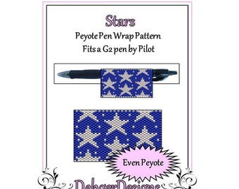 Peyote Beading Pattern (Pen Wrap/Cover)-Stars