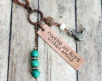 Cowgirl Necklace - Cowgirl Quote Jewelry - Long Charm Necklace - Whimsical Necklace - Cowgirls are God's Wildest Angels - Cowboy Boot Charm