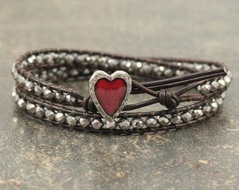 Red and Silver Heart Jewelry Delicate Beaded Leather Heart Bracelet