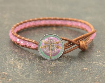 Pink Dragonfly Bracelet Shabby Boho Chic Dragonfly Jewelry Skinny Leather Wrap Bracelet