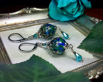 Chrysocolla Blue Green Victorian Earrings, Azurite Malachite Teal Edwardian Bridal Drops, Antiqued Gunmetal Filigree, Titanic Temptations