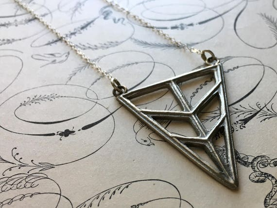 Triangle Necklace | Long Necklace | White Bronze Charm