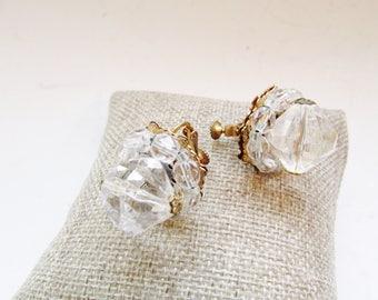 MIRIAM HASKELL Crystal Earrings, Clip On Earrings, Crystal Cluster Earrings, Vintage Wedding Earrings, 1950's Earrings