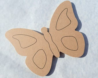 Butterfly Plaque -  Use as a Base for Mosaics Decoupage or Decorative Painting - Unfinished MDF Small 6 inch Sign DIY