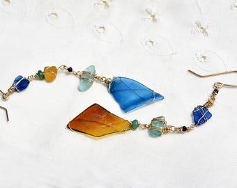 Blue Brown Roman Glass Gold Filled Earrings Israeli Earrings Roman Glass Jewelry Very Long Asymmetric Earrings One of a Kind Free Shipping