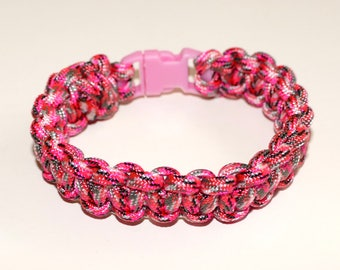 Pink Camo Paracord Bracelet 550 8 1/4 inches