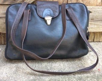 Joanel Black Leather Briefcase Attache Shoulderbag Messenger
