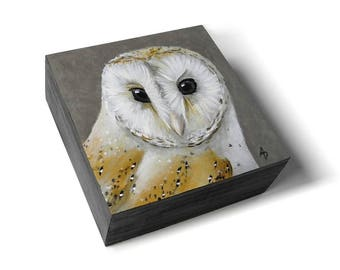 Barn owl painting, modern barn owl art, wildlife artwork, traditional realism, miniature small square art, owl collector gift