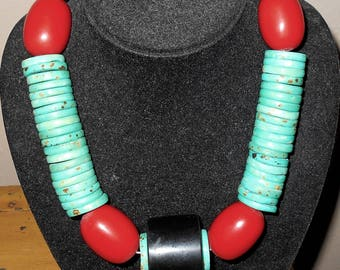 Turquoise Red Bead Necklace - Costume Jewelry - Chunky Jewelry- Red and Torquoise Blue Round Beads