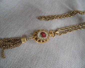 Vintage necklace, red rose pendant, petit point pendant,30 inch chain,chain dangles,retro necklace
