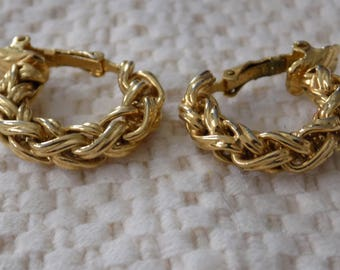 Vintage earrings, Trifari earrings, 1970s earrings, signed earrings, clip-on earrings, golden knotted hoop earrings