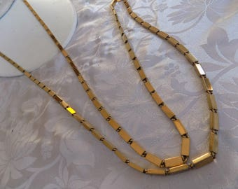 Vintage necklace, signed Monet 52 inch flapper golden rods necklace, retro jewelry