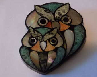 Vintage brooch, owl duet brooch, inlaid shell brooch, figural brooch, mama and baby owl brooch, vintage jewelry