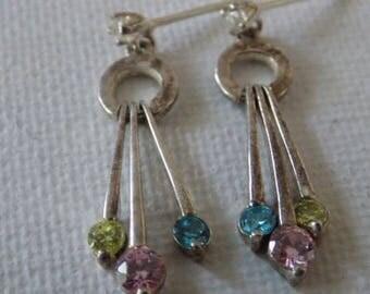 Vintage earrings,sterling silver 925 and CZ tri-color dangle drop feminine stud earrings,jewelry