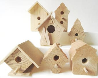 7 Unfinished Wood Birdhouses to Decorate 2-3""