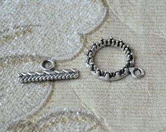 5 sets Antique silver flower toggle Clasp, Toggle Clasp findings,Necklace Clasp,Bracelet Clasp,Clasp Charms,Clasp Findings