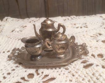 Vintage Miniature Tea Set 1945-1952 Occupied Japan Miniature Tea Set Pot Metal Mini Tea Set
