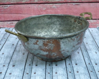 Two Handled Metal Bowl Shabby Chic Farmhouse Decor All Purpose Bowl