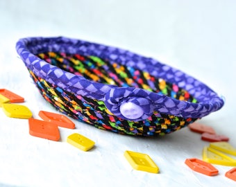 Rainbow Ring Bowl, Fun Basket, Handmade Funky Bowl, Gift Basket, Desk Home Office Decoration, Halloween Candy Dish Bowl, Change Basket
