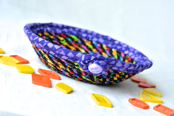 Rainbow Ring Dish, Sale... Fun Basket, Handmade Funky Bowl, Gift Basket, Artisan Quilted Candy Dish Bowl, Change Basket