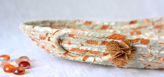 Fall Fabric Basket, Handmade Tan Basket, Autumn Catchall Bowl, Change Coin Catcher, Dresser Ring Holder, Gift for Men, Dad Present