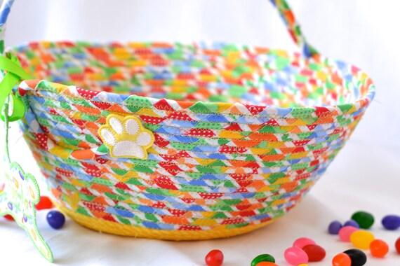 Rainbow Easter Basket, Handmade Cotton Fabric Basket, Fun Easter Bucket, Lovely Easter Decoration, Easter Egg Hunt Handled Bag