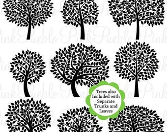 BACK TO SCHOOL Sale Tree Silhouettes Clipart Clip Art 2, Family Tree Clipart Clip Art - Commercial and Personal Use