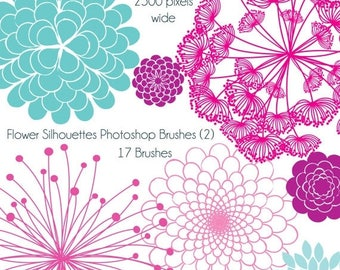 BACK TO SCHOOL Sale Flower Silhouettes Photoshop Brushes 2, Flower Photoshop Brushes - Commercial and Personal Use