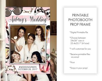 Wedding Preparation Bride and Bridesmaids Photo Prop Frame, Wedding Printable Decor Prop Photo Souvenir, Social Media Props