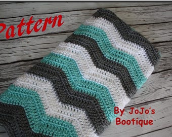 Pdf Pattern - Tri Color Chevron Baby Blanket,  Instant Download Pattern, Crochet Chevron Striped Blanket, Zig Zag  Blanket - by
