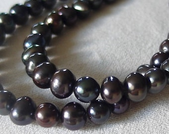 "Dark Peacock Pearls, 8mm x 6mm, smooth potato shape, blue, green, purple iridescence full 15"" strand of beads"