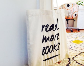 Read More Books Canvas Tote Bag | Library Book Bag | Book Lover Gift