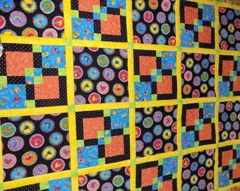 Bright Chicken handmade lap quilt 56 x 72