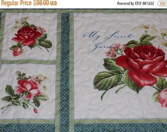 Sale Christmas in July Roses' Lap Quilt Handmade Red and Cream  55 x 75