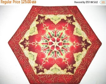 Sale Christmas in July Christmas Table Topper, Hexagon, Candle Mat, Wine Bottle Mat,   made from R Kaufman Flourish Fabric