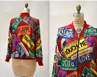 SALE Vintage Sequin Jacket Red with Licence Plates Signs // Vintage Red Sequin Jacket California Colorado New York Pop Art USA American Stat